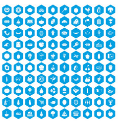 100 natural products icons set blue vector