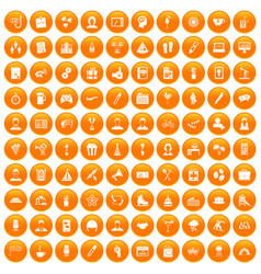 100 team building icons set orange vector image