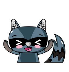 Adorable and glad raccoon wild animal vector