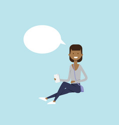 african woman using smartphone sitting chat bubble vector image