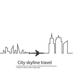 airplane between the two cities and its track and vector image