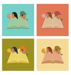 assembly flat icons book classics vector image