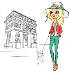 Beautiful fashion girl in Paris vector