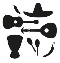 Black and white mexican music silhouette set vector
