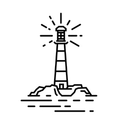 black line lighthouse sign vector image