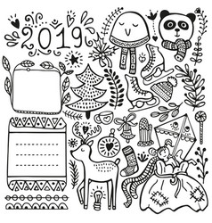bullet journal and winter doodle elements vector image