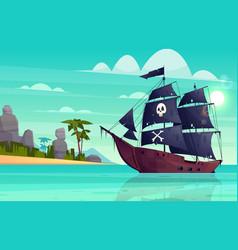 cartoon pirate ship in bay island vector image