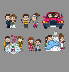 cartoon romantic characters set vector image