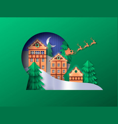 christmas papercut winter town snow globe cutout vector image