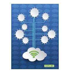 Cloud computing on blue background vector image