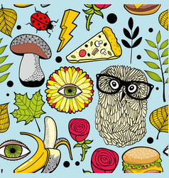 Colorful background with fast food and forest bird vector