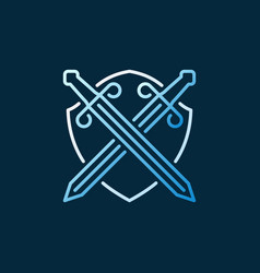 Crossed swords and shield concept colored vector
