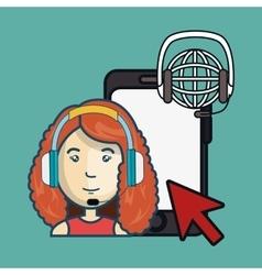 Customer call center design vector