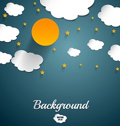 Cut paper moon and clouds vector