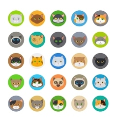 Cute cat heads icons vector