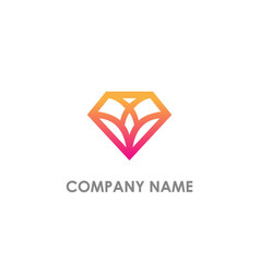 Diamond geometry shape line logo vector