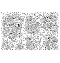 doodle set of Japan food objects vector image