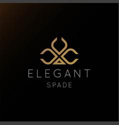 Elegant luxury golden spade logo design vector