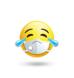 Emoji with mouth mask respirator yellow face vector