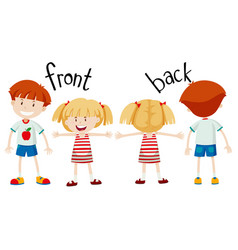 english opposite word of front and back vector image