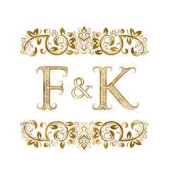 F and k vintage initials logo symbol vector