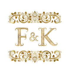 f and k vintage initials logo symbol vector image