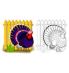 fantasy cute turkey colorful and black vector image
