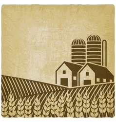 farm in field old background vector image