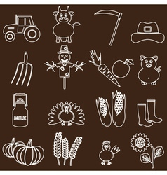 farm white and brown simple outline icons set vector image