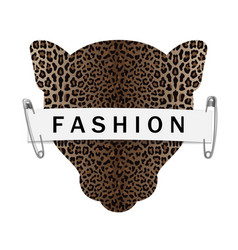 Fashion t-shirt print with leopard head silhouette vector