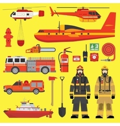 Fire brigade equipment infographics set vector
