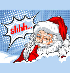 Flashing santa claus with his finger to his mouth vector