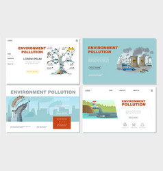 Flat environment pollution websites set vector