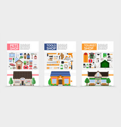 flat stores posters vector image