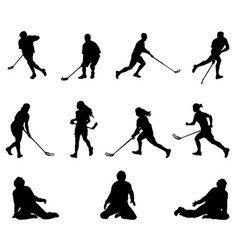floorball player silhouette men women goalies vector image
