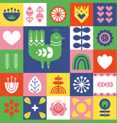 Folk art pattern with bird and decorative vector
