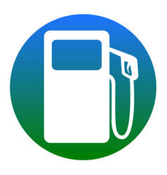 Gas pump sign white icon in bluish circle vector