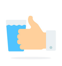 glass water with finger up gesture flat vector image