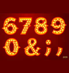 glowing lamp numbers for circus movie etc vector image