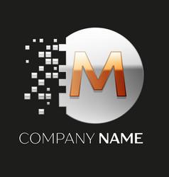 Golden letter m logo symbol in silver pixel circle vector