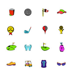 Golf equipment icons set cartoon vector
