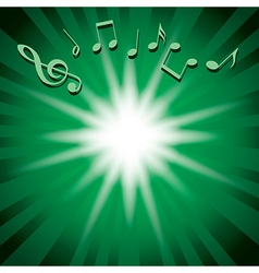 green music background with notes and flash vector image