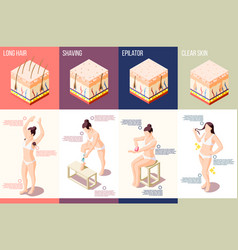 Hair removal isometric composition vector