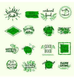 Healthy Food Labels Set vector image