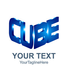 initial word cube logo template 3d cube word vector image