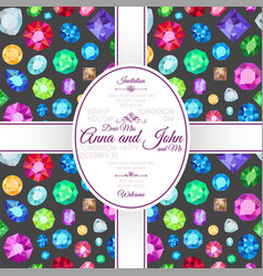 invitation template card with gems pattern vector image