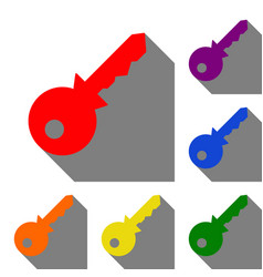 key sign set of red orange yellow vector image