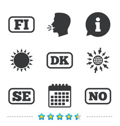 Language icons fi dk se and no translation vector
