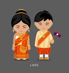 Laotians in national dress with a flag vector
