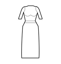 Line casual blouse and long skirt cloth vector